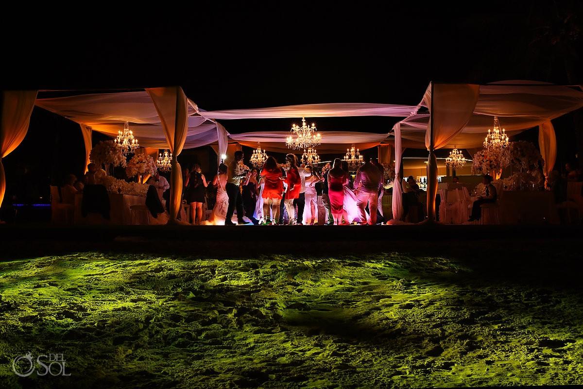 Destination wedding reception Dreams Riviera Cancun Terrace