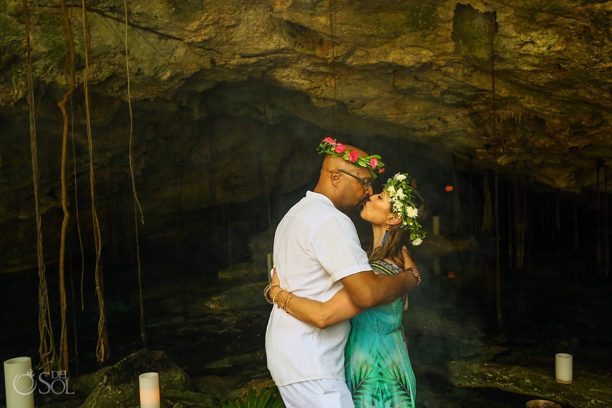 bride and groom first kiss Mayan Elopement Ceremony Riviera Maya Cenote Mexico