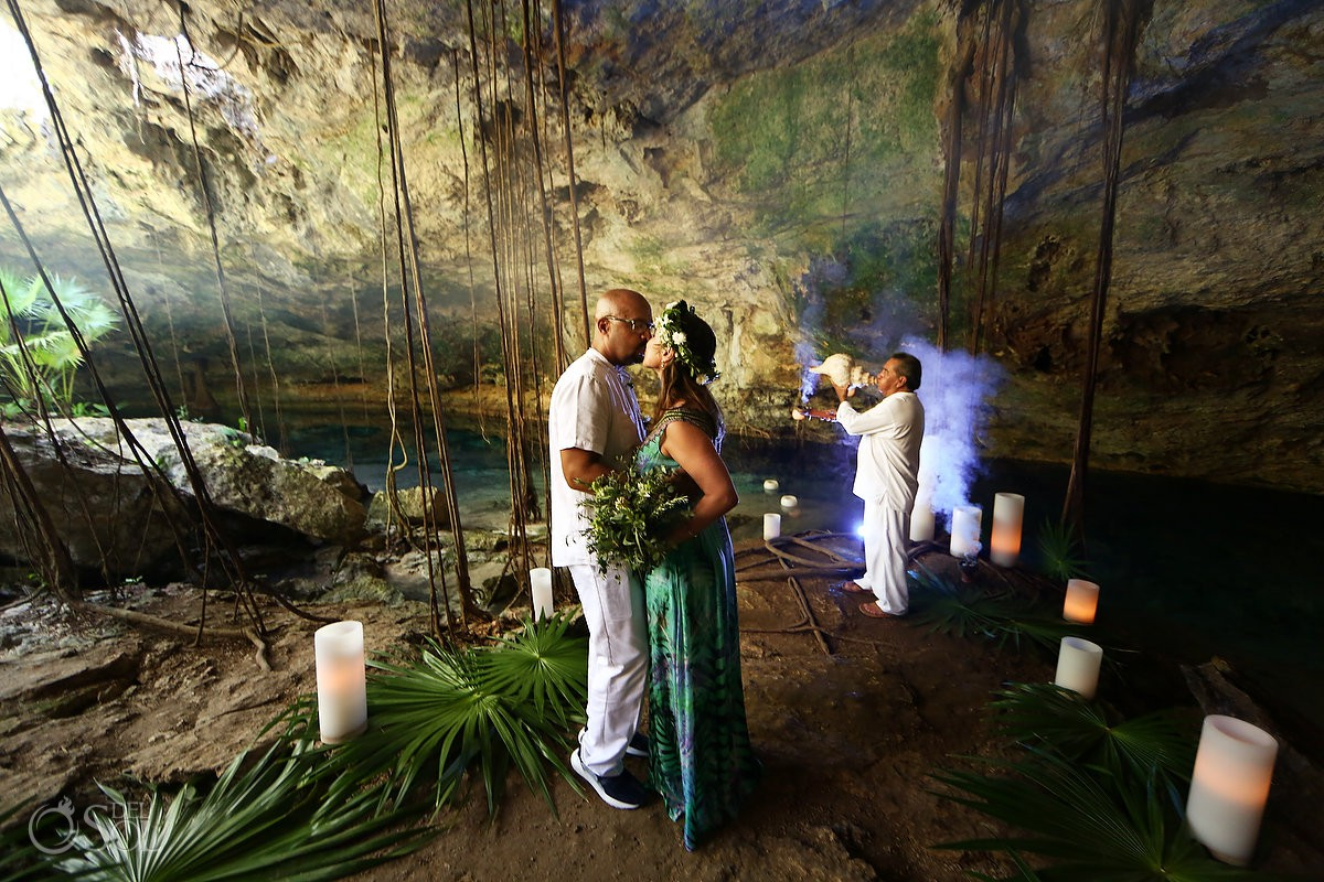 bride and groom just married Mayan Ceremony Riviera Maya Cenote Mexico