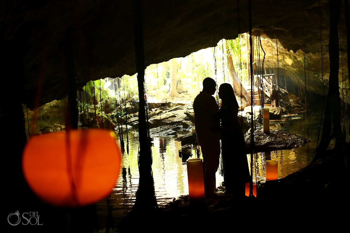 creative photography silhouette bride and groom cenote Riviera Maya Mexico