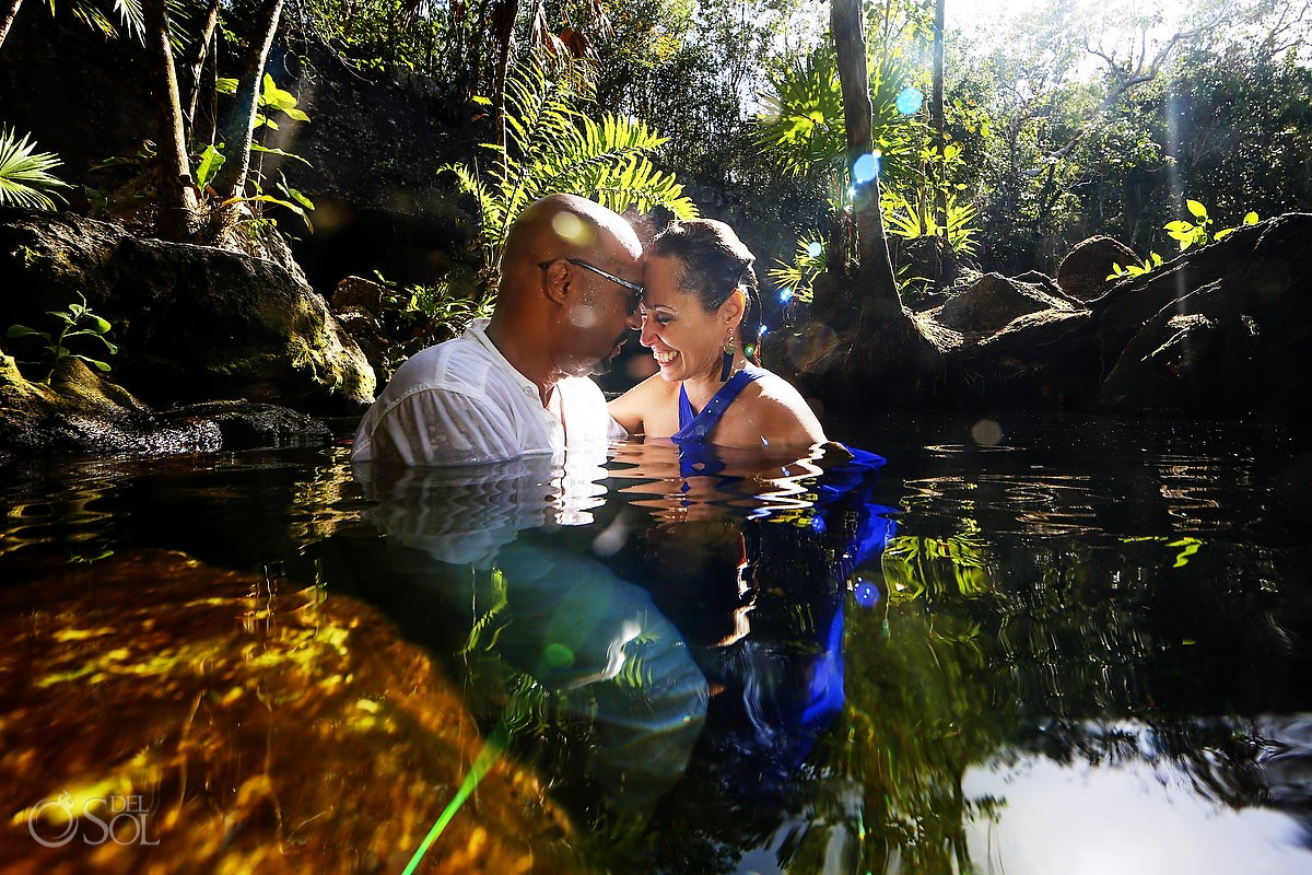 Elopement Ceremony Cenote trash the dress underwater best photographer Riviera Maya Mexico