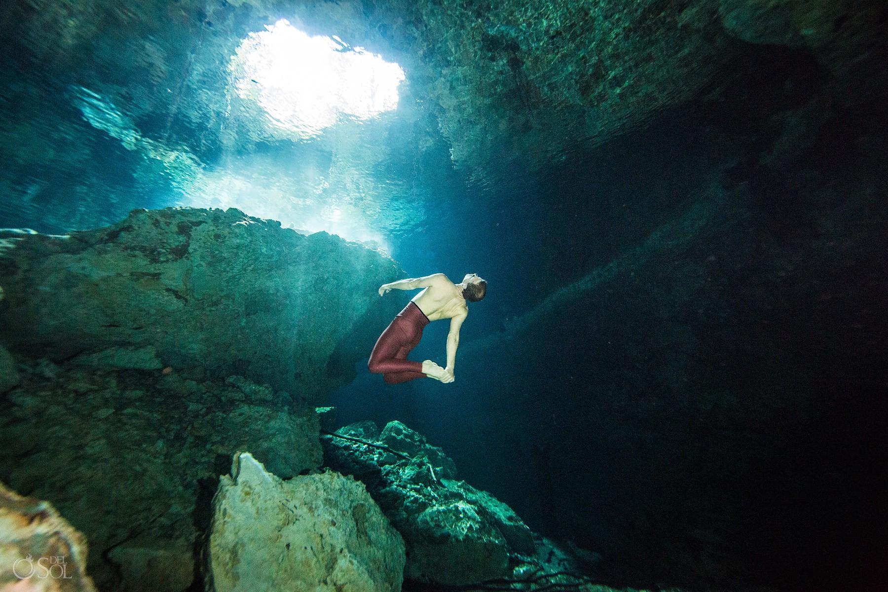 gabriel forestieri underwater dancer fine art photography Cenote Riviera Maya Mexico #Aworldofitsown