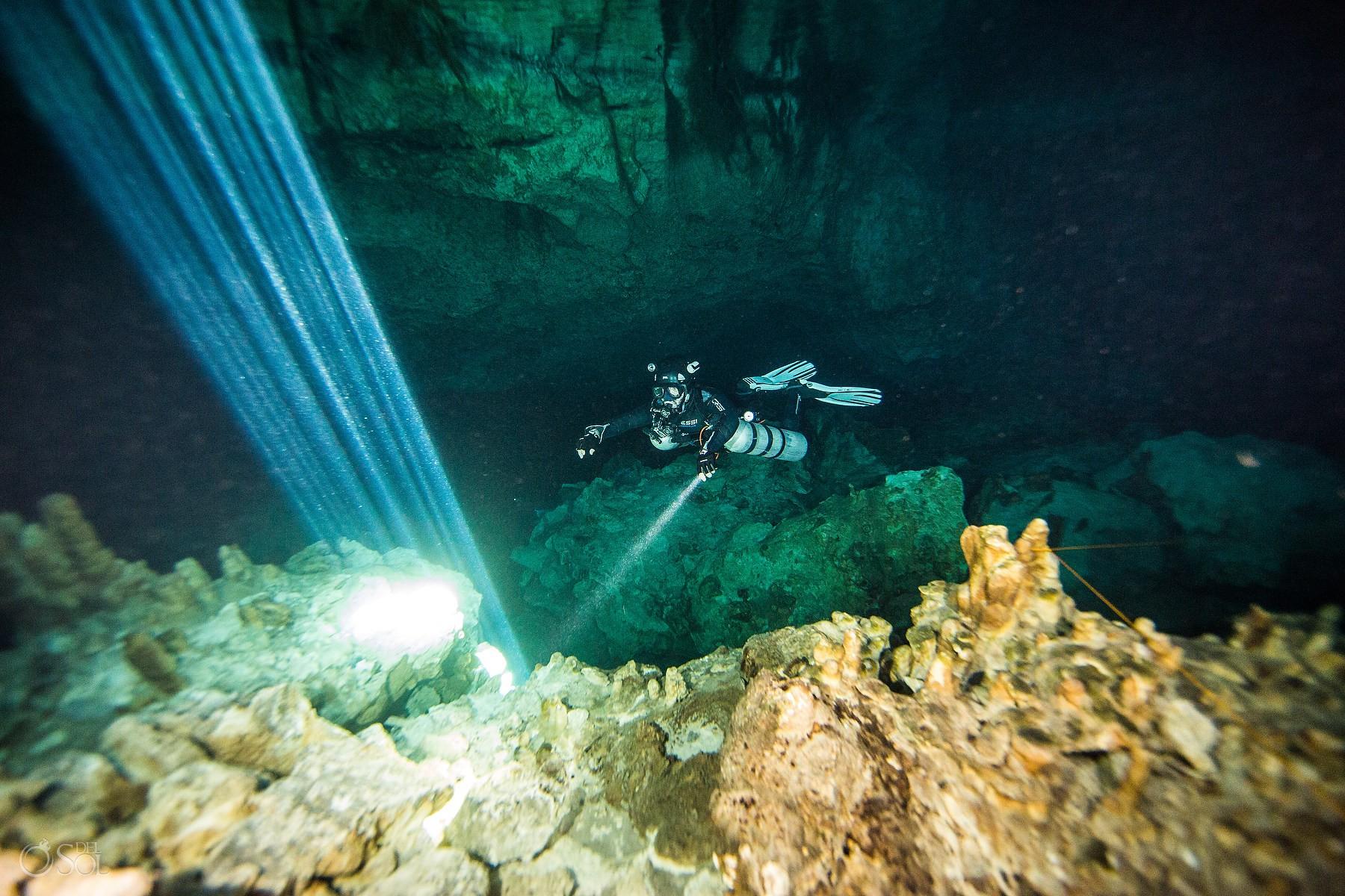gabriel forestieri underwater dancer fine art photography light innature Cenote Riviera Maya Mexico