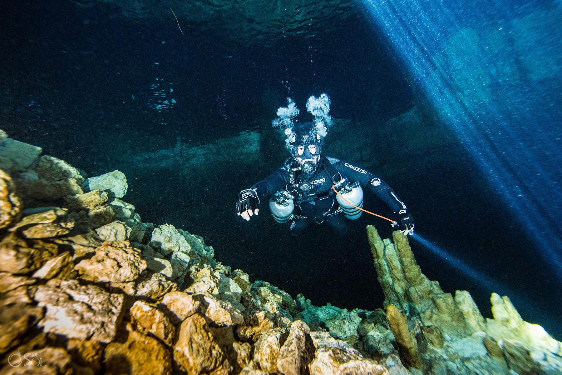 underwater cave diving in Cenotes Riviera Maya Mexico #Aworldofitsown