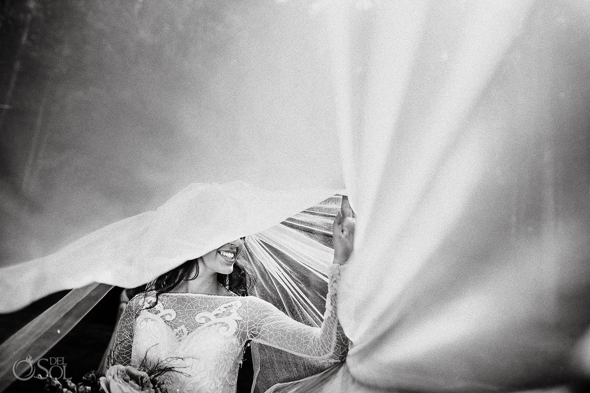 Black and white bride portrait with long veil Del Sol Photography Panama Trash the Dress Workshop