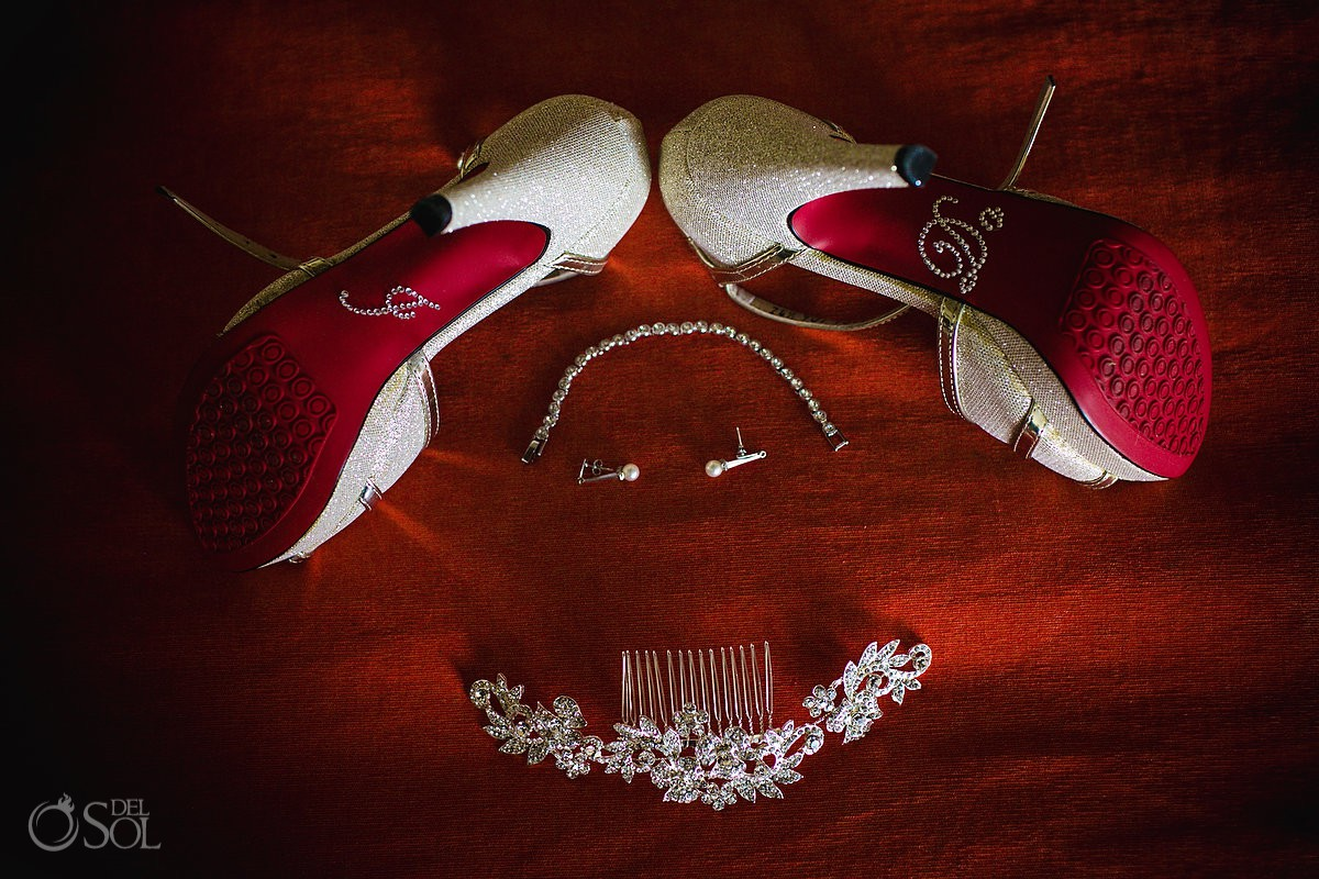 bride accessories getting ready I do shoes Wedding Dreams Riviera Cancun Resort Cancun Mexico