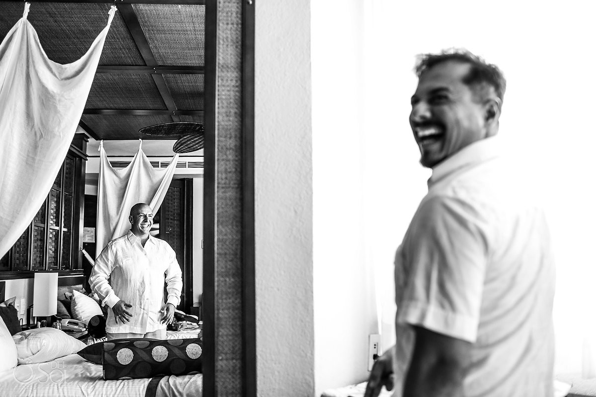 Groom getting ready fun moments before ceremony Wedding Dreams Riviera Cancun Resort Mexico