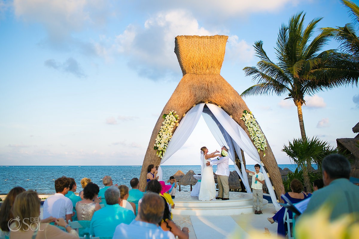 Just married I do destination gazebo wedding ceremony Dreams Riviera Cancun Resort Mexico