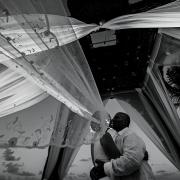 creative black and white wedding portrait Dreams Riviera Cancun Resort Mexico