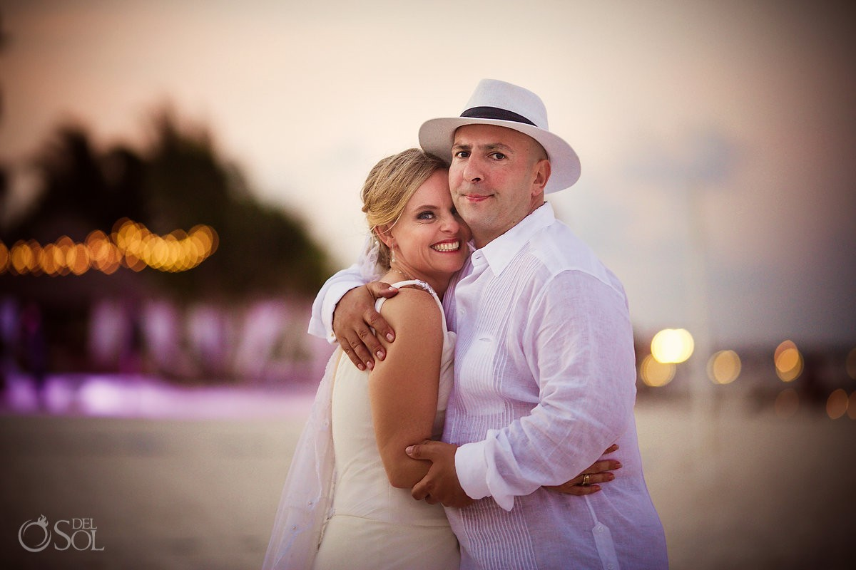 bride and groom wedding sunset portraits Dreams Riviera Cancun Resort Mexico
