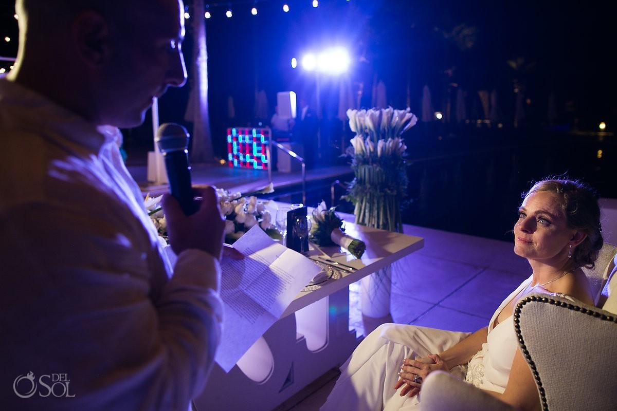 Wedding reception speeches Dreams Riviera Cancun Resort Mexico
