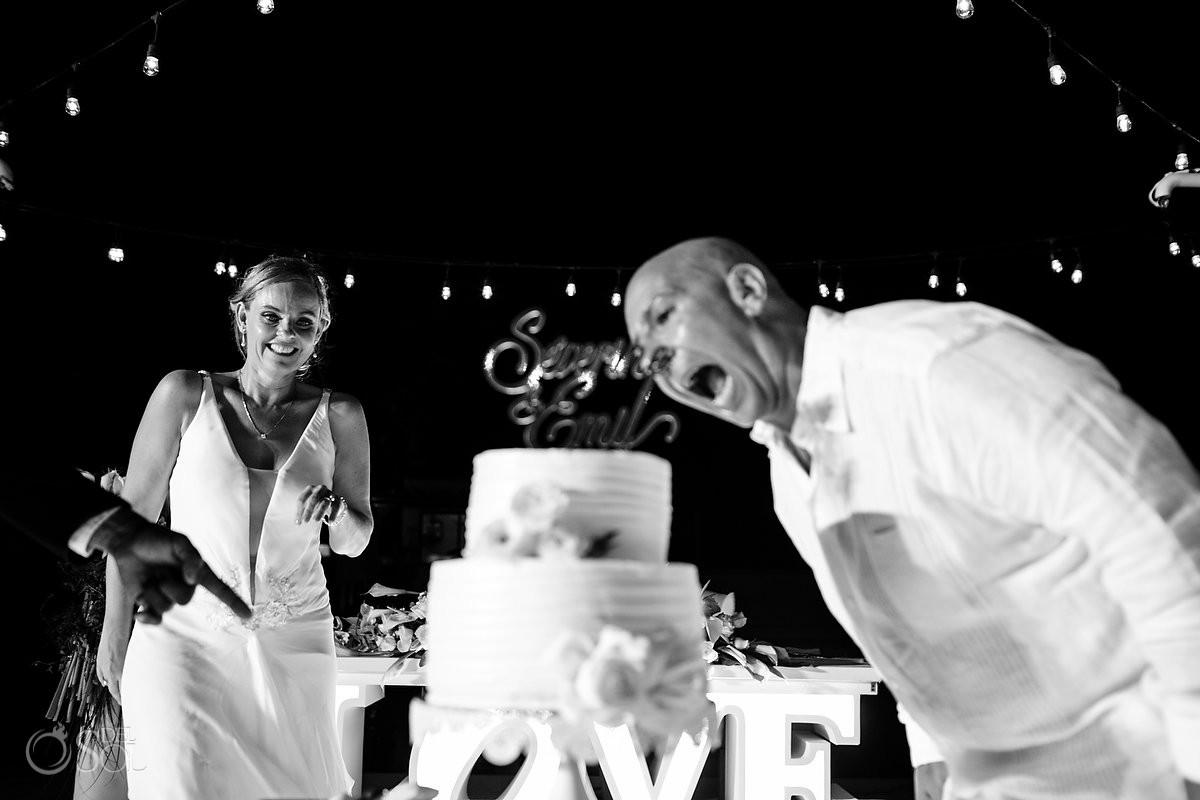cake time bride and groom fun moments Dream Wedding Dreams Riviera Cancun Resort Cancun Mexico
