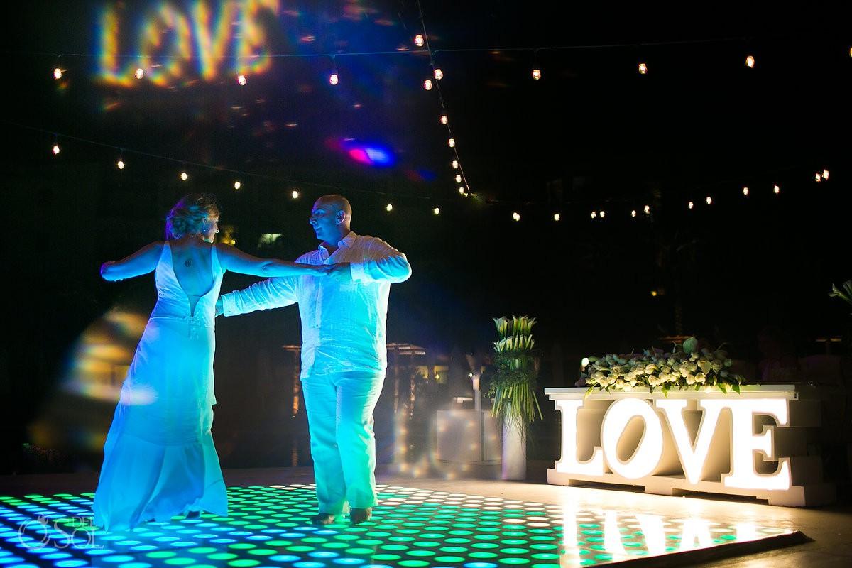 Bride and groom dancing wedding reception Dreams Riviera Cancun Mexico