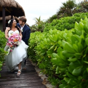 Dreams Tulum Beach Wedding bride and groom portrait