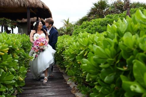 Dreams Tulum Beach Wedding bride and groom portrait