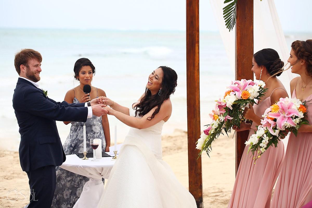 Destination weddings Dreams Tulum Beach Wedding bride and groom