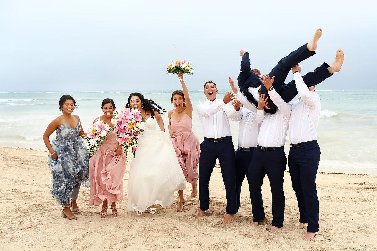 bridal party Dreams Tulum Beach Wedding