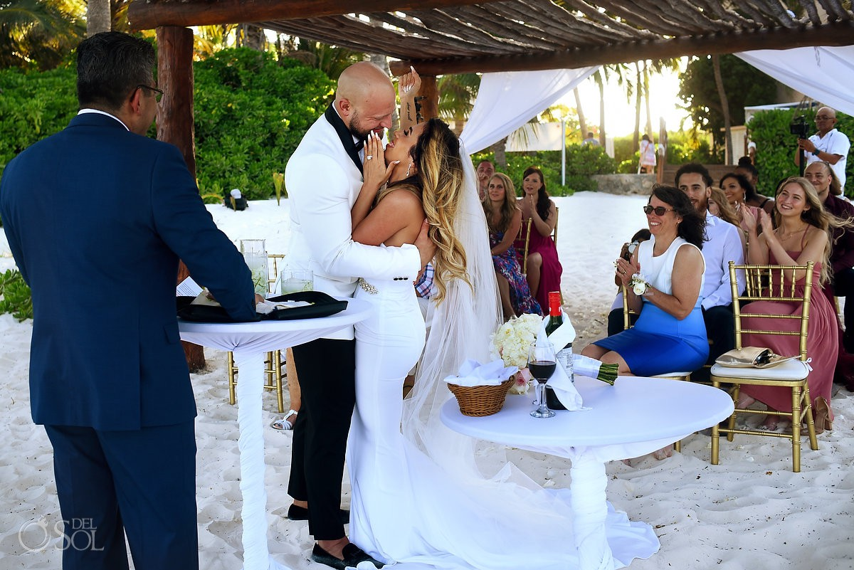 Excellence Riviera Cancun Wedding first kiss