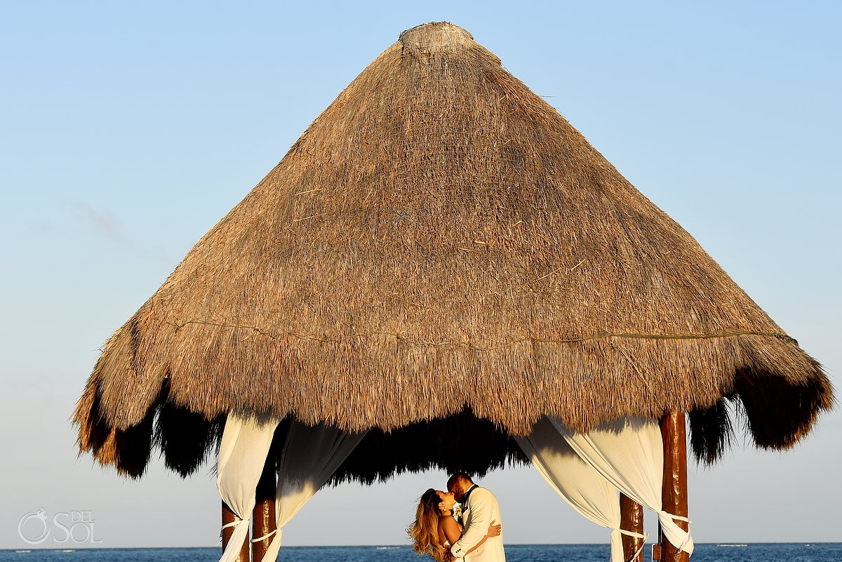 Excellence Riviera Cancun pier palapa sunset wedding portrait