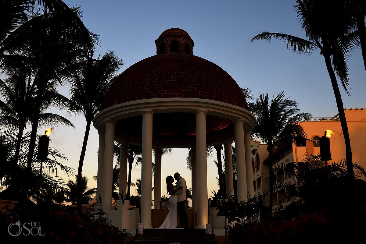 Excellence Riviera Cancun Wedding gazebo couple portrait silhouette
