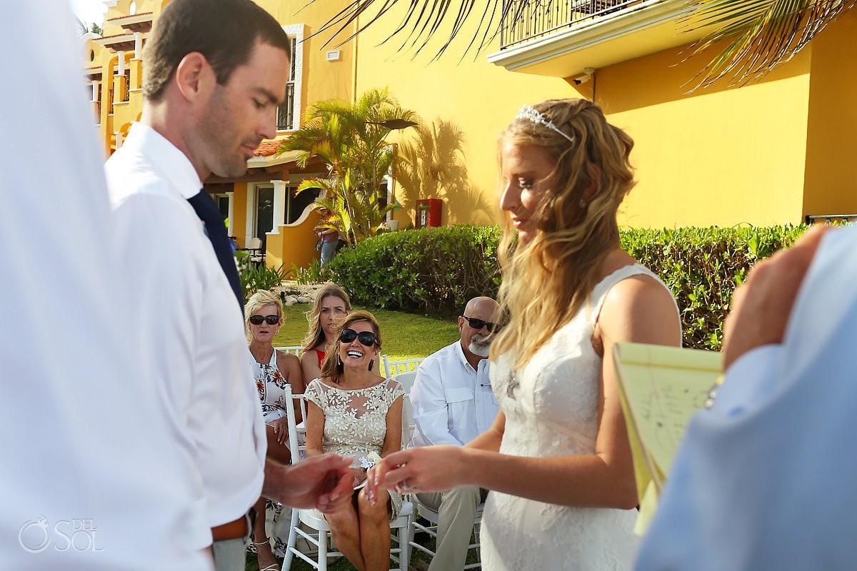 Playa del Carmen wedding Secrets Capri mom watching ring exchange