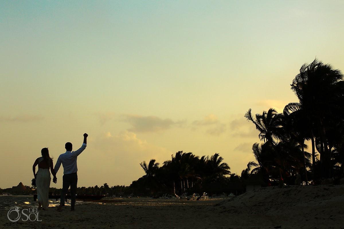Secrets Capri weddings beach golden hour portrait session silhouette