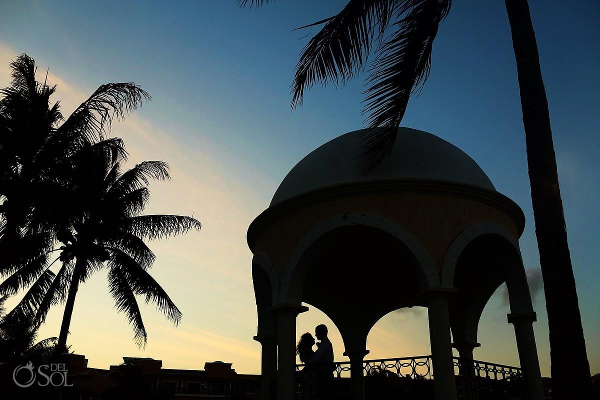 Secrets Capri wedding pool gazebo sunset silhouette