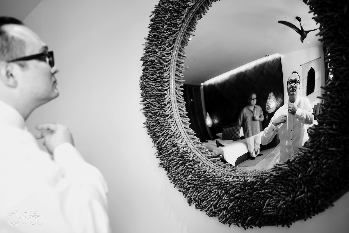 Groom getting ready Wedding Secrets Maroma Beach Riviera Cancun Mexico