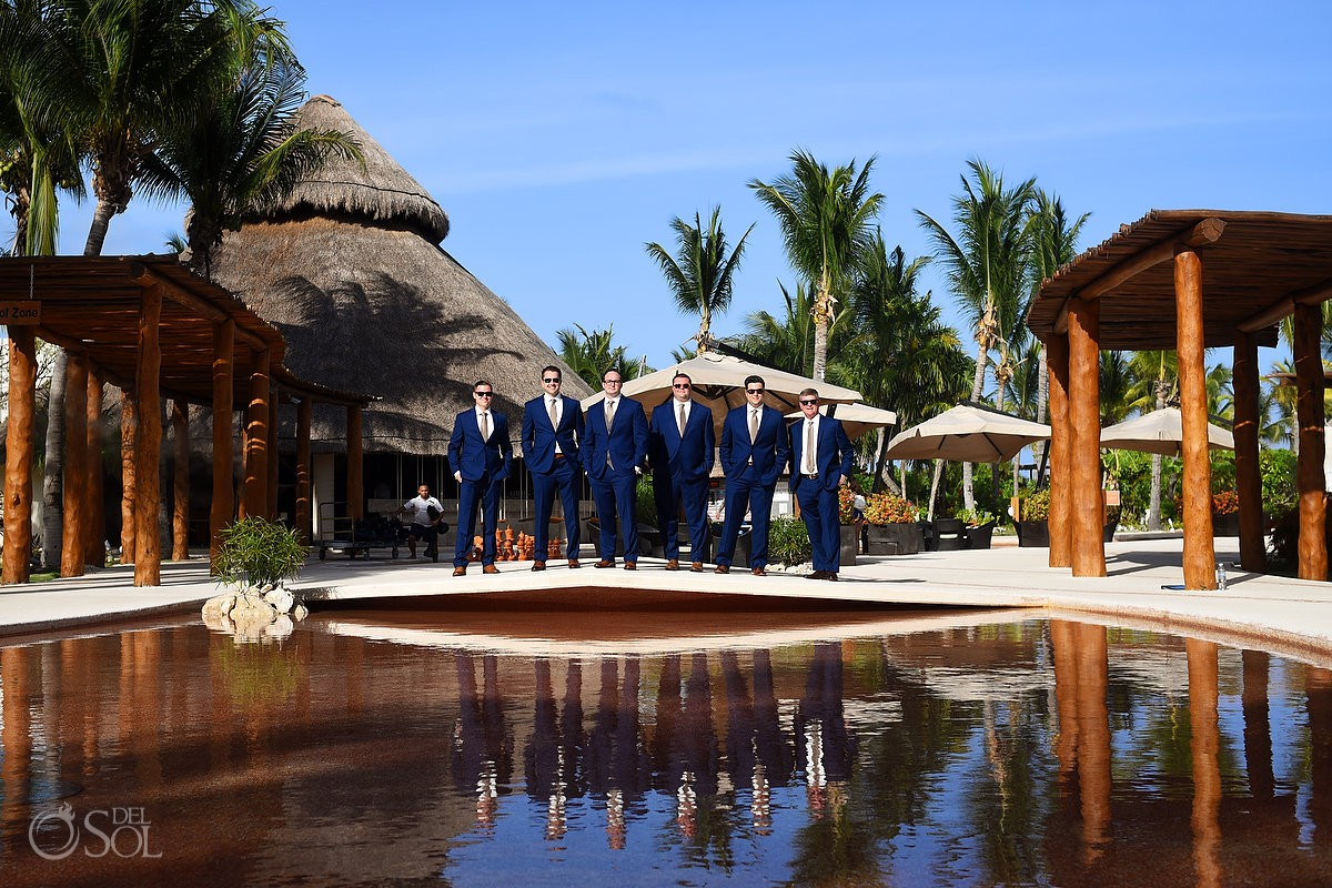Groom and groomsman Wedding Secrets Maroma Beach Wedding Riviera Maya Mexico