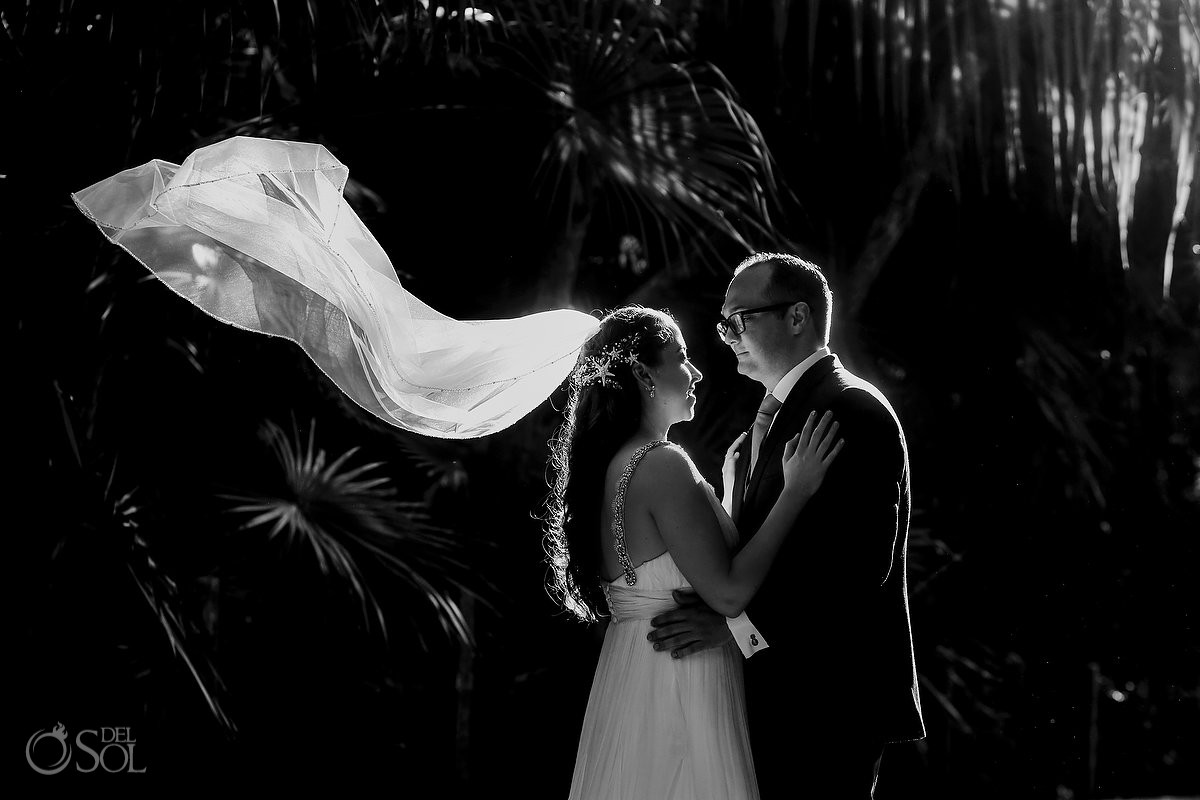 Bride and groom creative black and white wedding portrait Secrets Maroma Beach Riviera Cancun Mexico