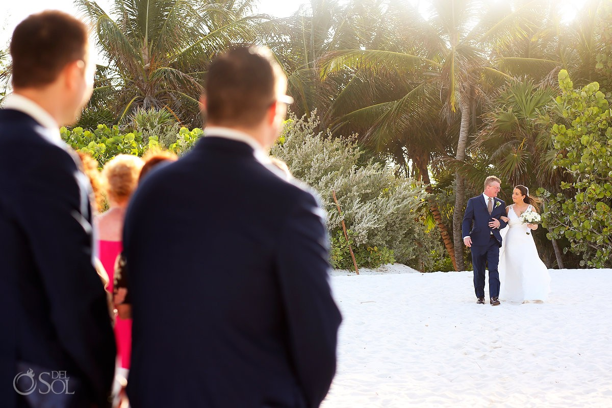 Wedding ceremony first look father giving away bride Secrets Maroma Beach Riviera Cancun Mexico