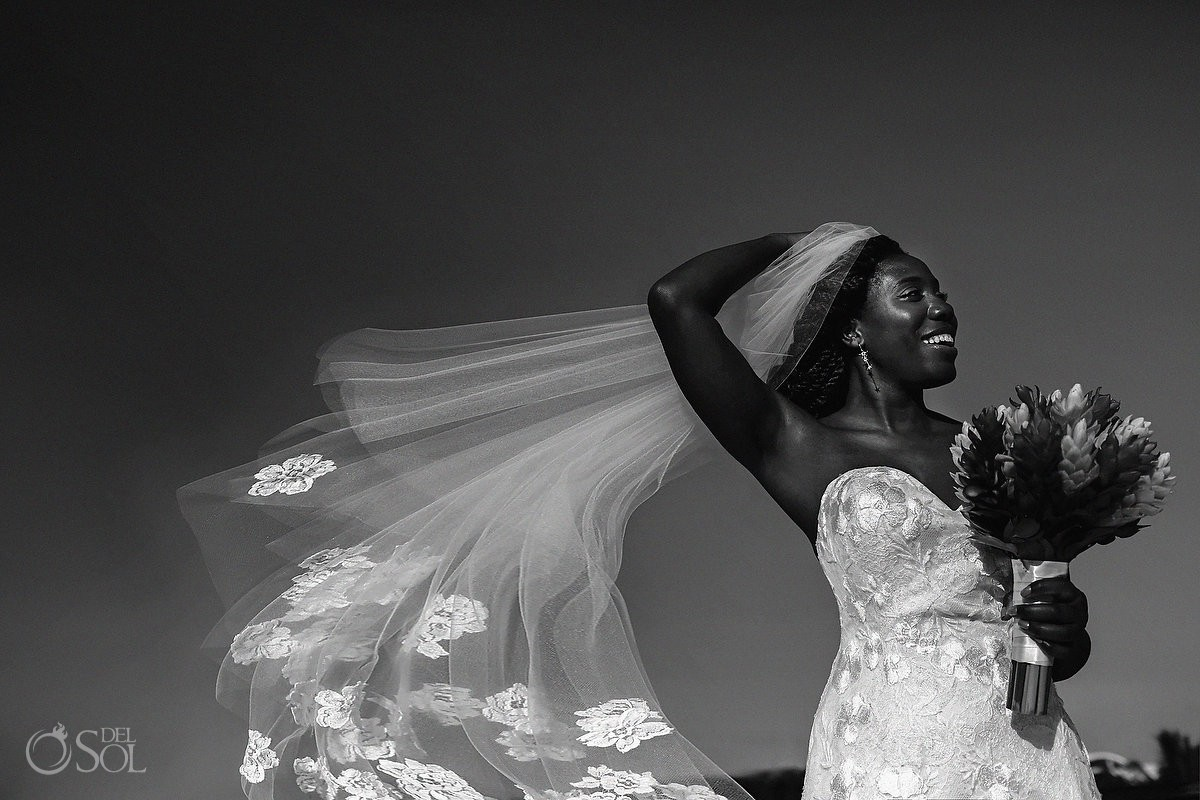 Black and white photography bride portrait Blue Diamond Luxury Boutique Hotel Wedding Playa del Carmen Mexico