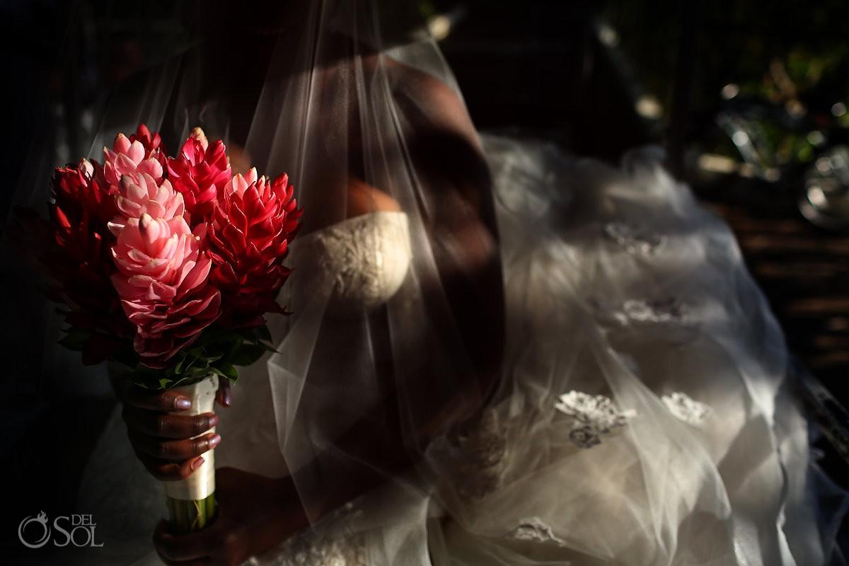 Amazing creative bride wedding portrait Blue Diamond Luxury Boutique Hotel Wedding Playa del Carmen Mexico