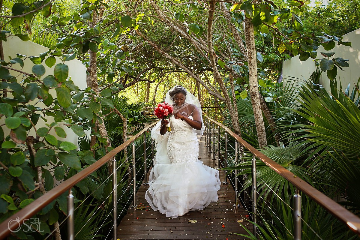 bride walking to ceremony wearing veil Justin Alexander wedding dress Blue Diamond Luxury Boutique Hotel