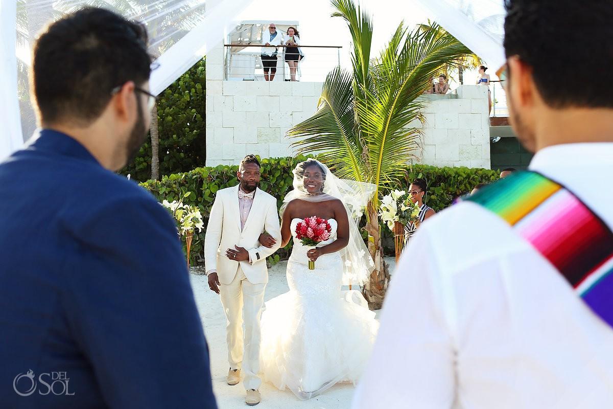 Blue Diamond wedding bride entrance beach gazebo Playa del Carmen Mexico