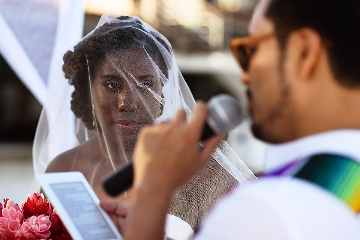 Bride crying emotional ceremony moment Blue Diamond Wedding Playa del Carmen Mexico