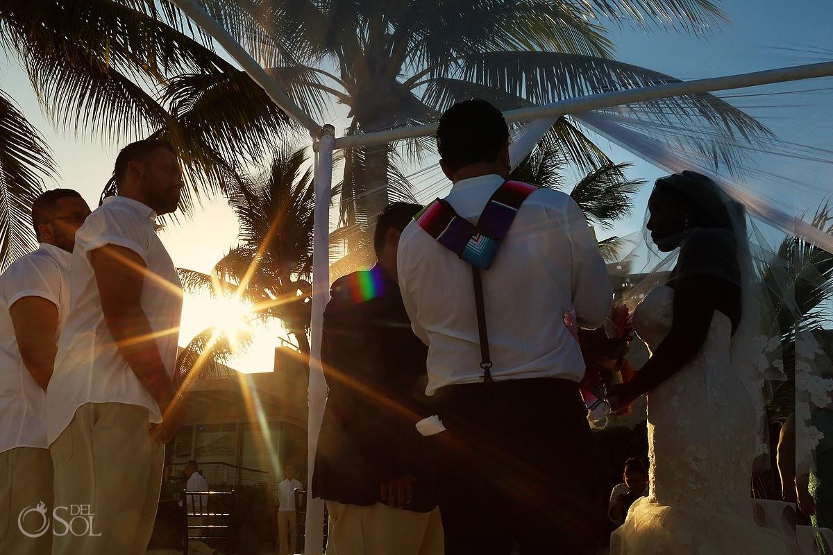 Golden hour Blue Diamond beach Wedding ceremony Playa del Carmen Mexico