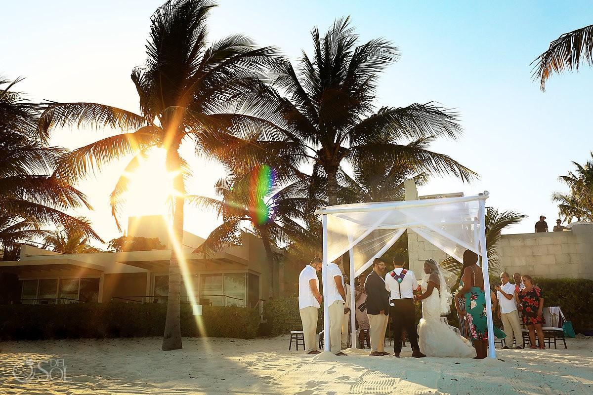 Destination Wedding ceremony beautiful sunset Blue Diamond Luxury Boutique Hotel Playa del Carmen Mexico