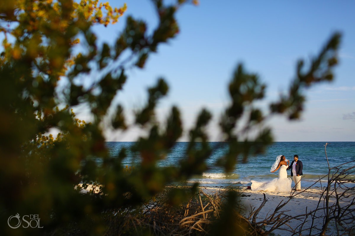 Bride groom destination beach wedding portraits Blue Diamond Luxury Boutique Hotel Wedding Playa del Carmen Mexico