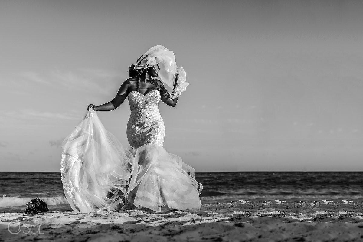 Blue Diamond Wedding photographers beach bride portrait Justin Alexander dress #travelforlove