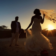 bride groom sunset silhouette Blue Diamond Luxury Boutique Hotel Wedding Playa del Carmen Mexico