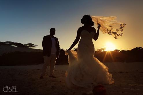 bride groom sunset silhouette Blue Diamond Luxury Boutique Hotel Wedding Playa del Carmen Mexico