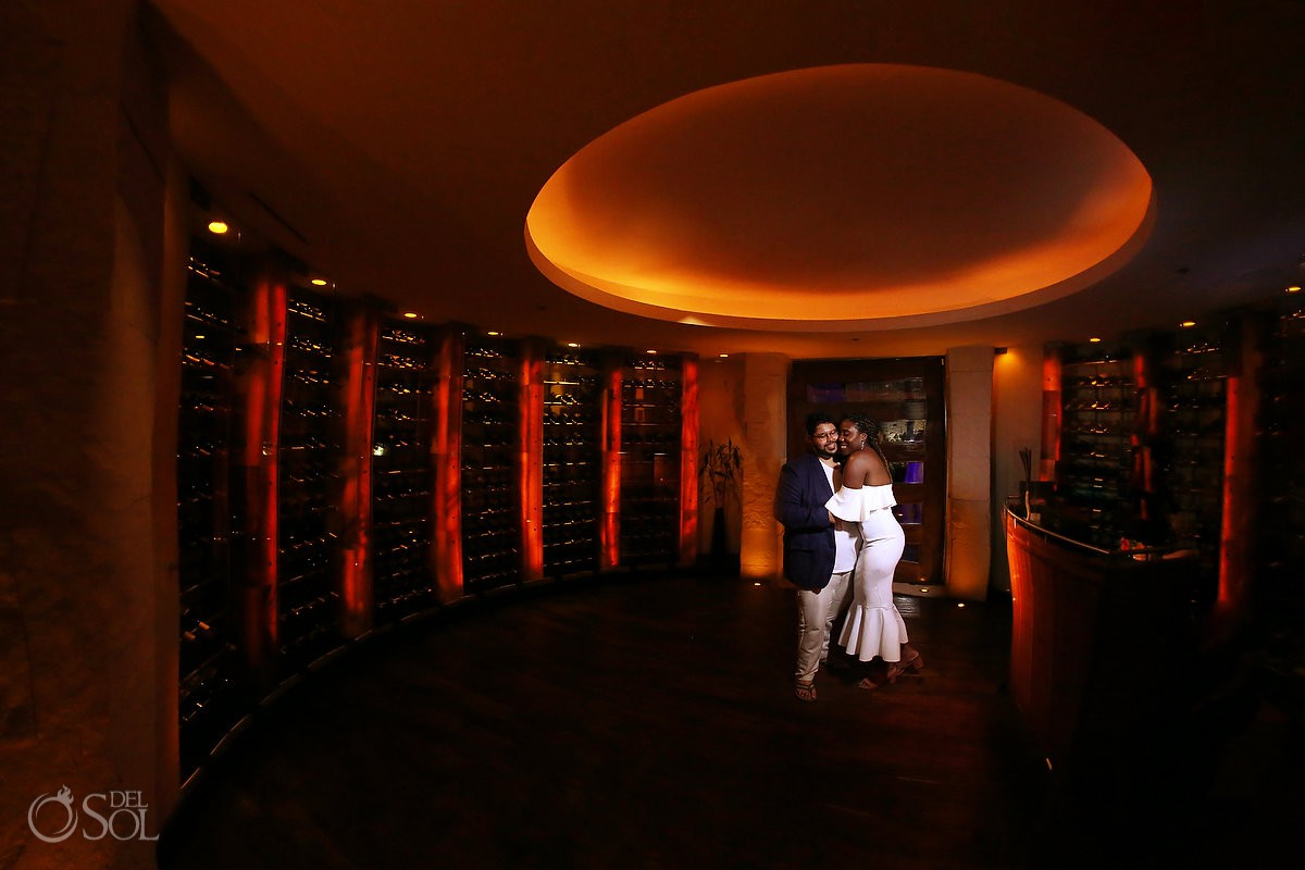 Blue Diamond wedding reception night portrait wine cellar Playa del Carmen Mexico