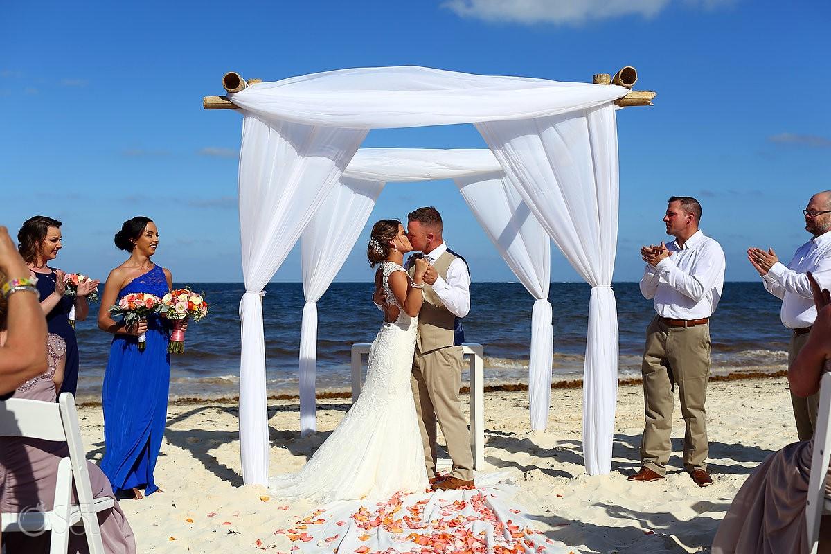 First Kiss Now Sapphire Wedding Riviera Cancun Riviera Maya Mexico
