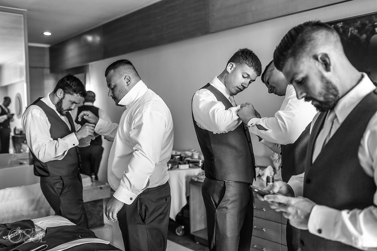 groom and groomsmen getting ready Beach Palace Wedding Cancun Mexico