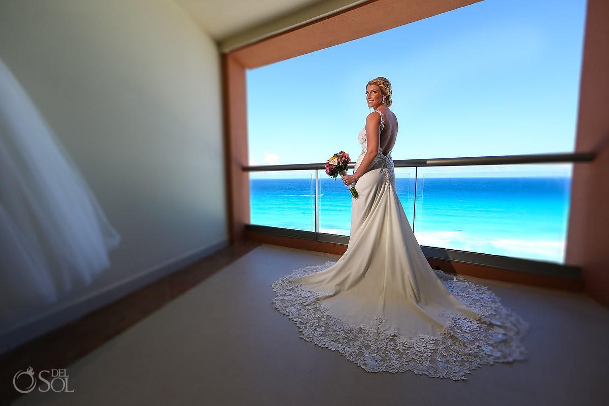 bride wearing Bijou Bridal wedding dress getting ready Beach Palace Wedding