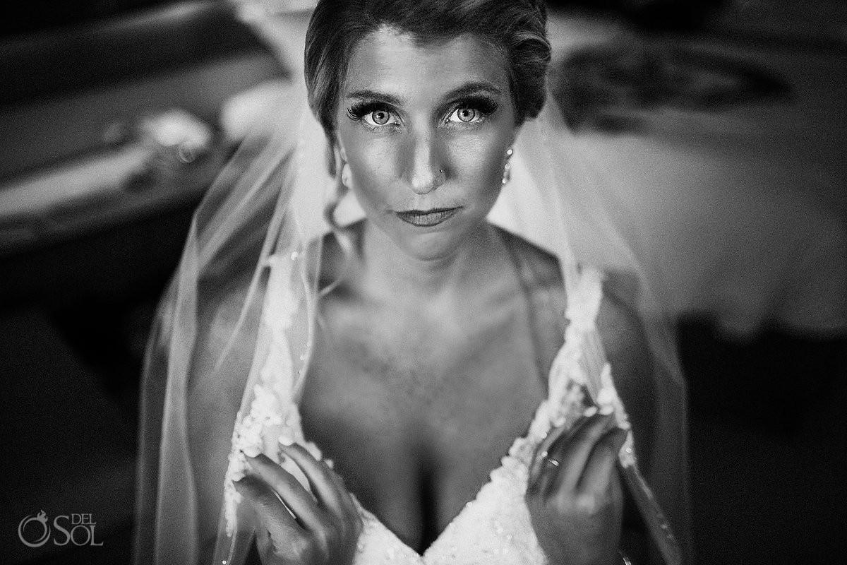 black and white bride portrait Beach Palace Wedding