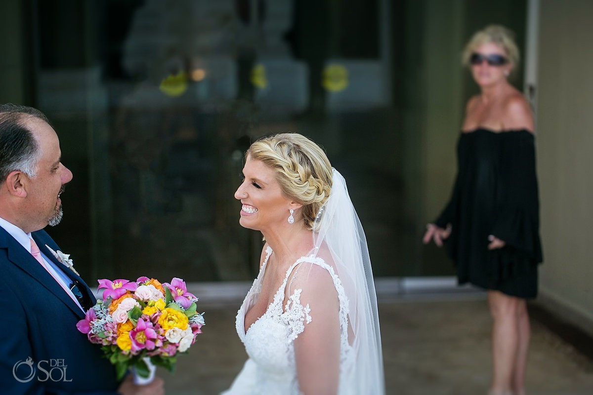 Bride first look with father Beach Palace Wedding Cancun Mexico
