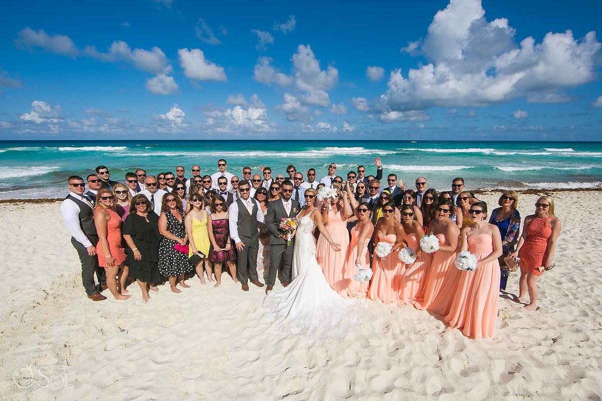 group photo Beach Palace Wedding Cancun Mexico