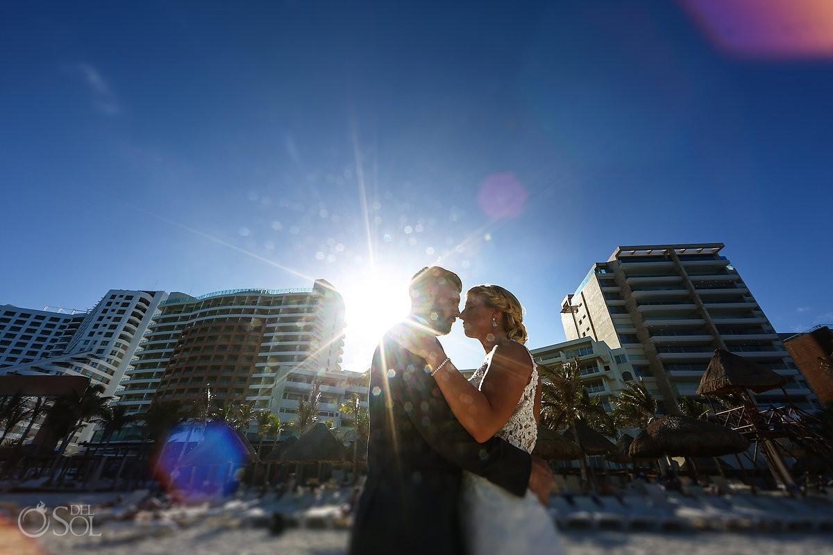 Destination wedding couple portrait Beach Palace Wedding Cancun Mexico